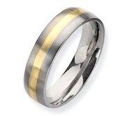 Titanium 14k Gold Inlay 6mm Brushed Wedding Band