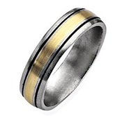Titanium 14k Gold Inlay 6mm Brushed and Antiqued Wedding Band