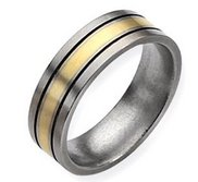 Titanium 14k Gold Inlay Flat 7mm Brushed and Antiqued Wedding Band
