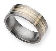 Titanium Sterling Silver Inlay 8mm Brushed Wedding Band