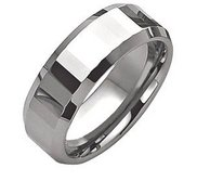 Tungsten Faceted Edges 8mm Polished Wedding Band