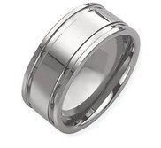 Tungsten Grooved 10mm Polished  Wedding Band