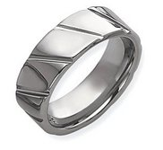 Dura Tungsten Grooved 8mm Polished Wedding Band