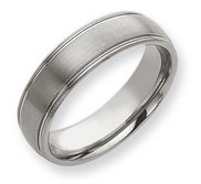 Tungsten Grooved 7mm Brushed and Polished Wedding Band