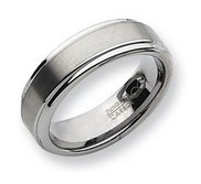 Tungsten Ridged Edge 8mm Brushed and Polished Wedding Band