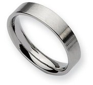 Stainless Steel Flat 5mm Brushed Wedding Band