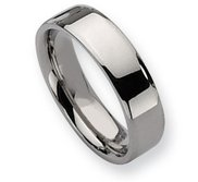 Stainless Steel Beveled Edge 6mm Polished Wedding Band