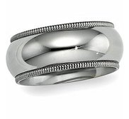 Sterling Silver 9mm Milgrain Comfort Fit  Wedding Band