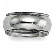 Sterling Silver 10mm Milgrain Comfort Fit  Wedding Band
