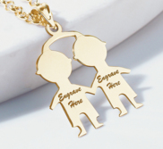 Engravable Two Boys Pendant or Charm