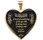 To My Wife   Engravable Heart Pendant