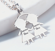 Engravable Two Girls Pendant or Charm