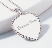 Engravable Scalloped Heart with Diamond Cut Pendant or Charm