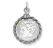 Sterling Silver Engravable Charm or Pendant W  Rope Frame