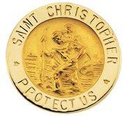 14K YELLOW GOLD ST  CHRISTOPHER LAPEL PIN