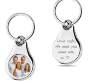 Stainless Steel Engravable  Drive Safe  Round Photo Laser Keychain