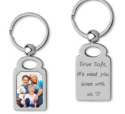 Stainless Steel Engravable  Drive Safe  Rectangle Photo Laser Keychain