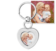Stainless Steel Engravable Heart Photo Laser Keychain