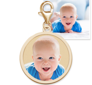 Petite Round with Border Photo Charm For Bracelet