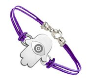 Sterling Silver Hamsa  Protector of Evil Eye  Engraved  Rope Bracelet