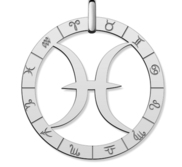 Cutout Round Pisces Symbol Charm or Pendant