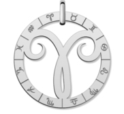 Cutout Round Aries Symbol Charm or Pendant