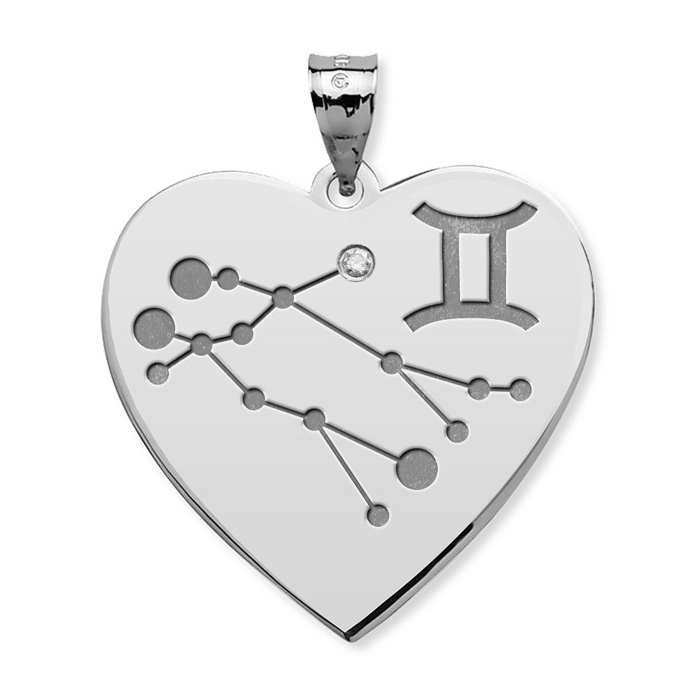 Gemini Symbol Heart Pendant Charm