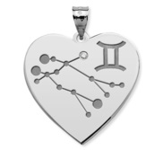 Gemini Symbol Heart Charm or Pendant