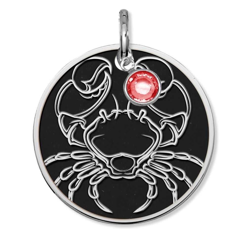 Cancer Symbol Round Charm or Pendant w/ Birthstone