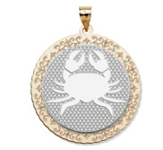 Cancer Symbol Two Tone Round Pendant