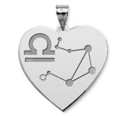 Libra Symbol Heart Charm or Pendant