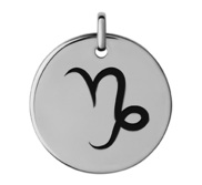 Capricorn Black Enameled Round Disc Charm