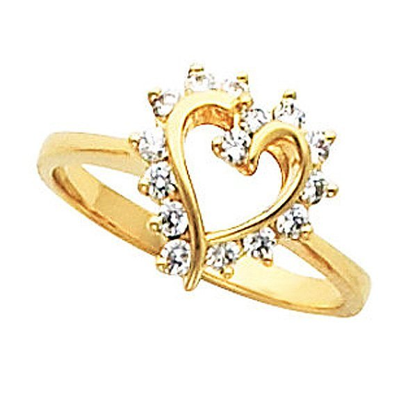 Size 8 Jewel Tie Solid 14k Rose Yellow /& White Gold 15 Years Birthday Heart Ring