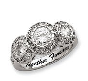 Sterling Silver Round 3 Stone Cubic Zirconia Promise Ring