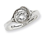 Sterling Silver Cubic Zirconia Pomise Ring