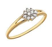 14K Gold Diamond Cluster Promise Ring