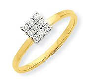 10k Yellow Gold Cubic Zirconia Cluster Promise Ring
