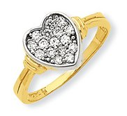 10k Yellow Gold Cubic Zirconia Heart Shape Promise Ring