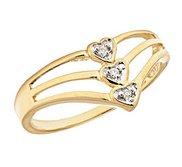 14K Gold Triple Diamond Heart Promise Ring