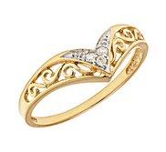14K Gold Chevron Diamond Promise Ring