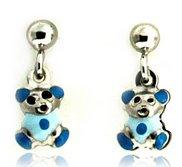 Sterling Silver Enamel   Blue Teddy Bear   Dangle Post Earrings