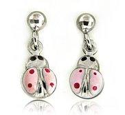 Sterling Silver Enamel   Pink Ladybug   Earrings
