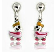 Sterling Silver Enamel   Rubber Ducky   Dangle Post Earrings