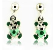 Sterling Silver Enamel   Green Teddy Bear   Dangle Post Earrings