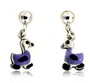 Sterling Silver Enamel   Duckling   Dangle Post Earrings