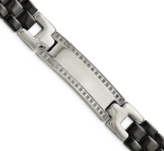 Stainless Steel Ceramic Polished 1 4ct Tw  Diamond 8 75in Bracelet
