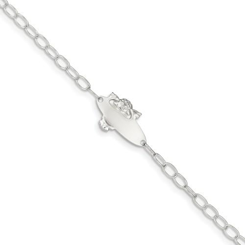 6 3//4 inches Childrens Sterling Silver Diamond Angel Charm Bracelet