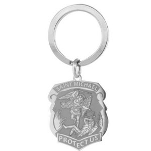 Stainless Steel Saint Michael Badge Religious Engravable Keychain