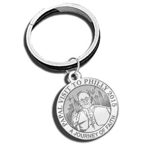 Pope Francis   Papal Visit Philadelphia 2015 Religious Engravable Embossed Keychain