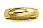 14K Yellow Gold Domed Wedding Bands